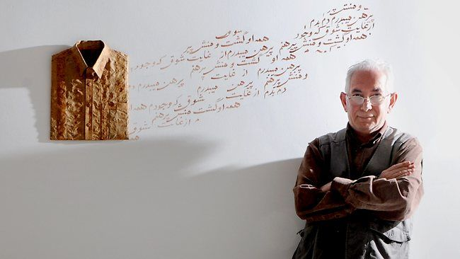 Hossein Valamanesh  place identity change self poetry symbolism http://www.shermangalleries.com.au/artists_exhib/artists/valamanesh/index.html   http://www.greenaway.com.au/Artists/Hossein-Valamanesh.html   http://www.turnergalleries.com.au/exhibitions/08_valamanesh.php   http://www.mca.com.au/collection/artist/valamanesh-hossein/