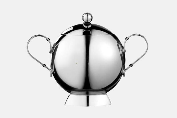 Sunfish Sugar Bowl  http://www.nickmunro.com/shop/tea-and-coffee/  Sunfish sugar bowl with lid and spoon made from 18/10 polished stainless steel with a steel handle. Dishwasher safe.  Dimensions:  Height: 12.5 cm  Diameter: 6 cm
