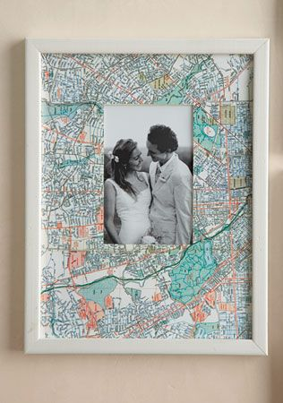 For travel photos, use a map of your location as the frame! Absolutely love this idea!! I want to make a whole wall of these photos! | Martha Stewart