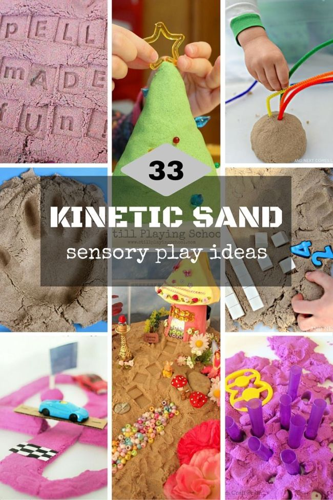Kinetic sand is fun for play! Here are 33 kinetic sand play ideas for kids combining playing and learning for kids of all age!