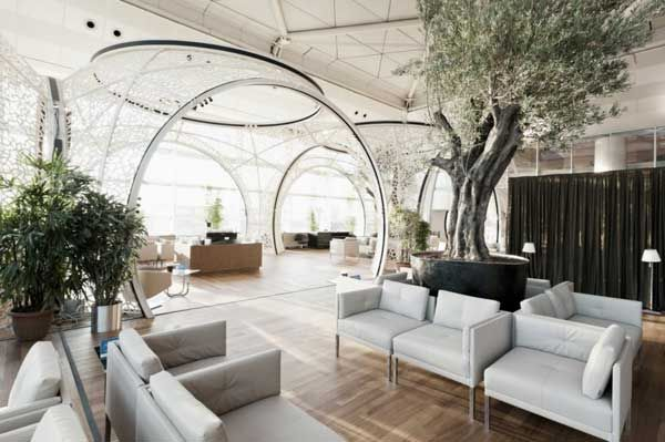 The Turkish Airlines CIP Lounge has recently been opened at the Ataturk Airport International Departures in Istanbul – a feast for the eyes. Featuring intricate shells built inside the airport hall, the modern airport lounge was designed by Autoban.