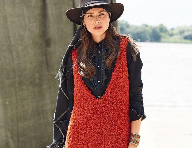 Описание вязания на спицах платья-майки с боковыми разрезами из журнала «Burda. Вязание» №8/2016