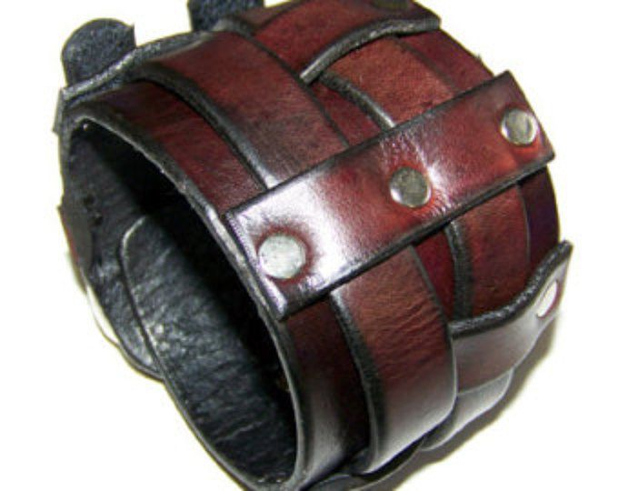 Muñequera de cuero con cinturón ancho doble (122004)
