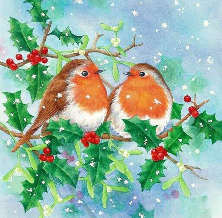 Картинка добрым, новогодняя открытка с птичками