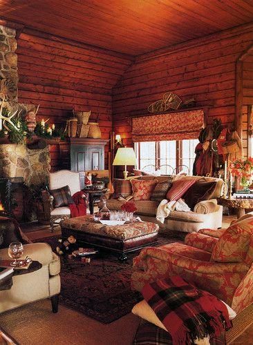 Cozy family room in a log cabin - Log cabin interior design ideas ...