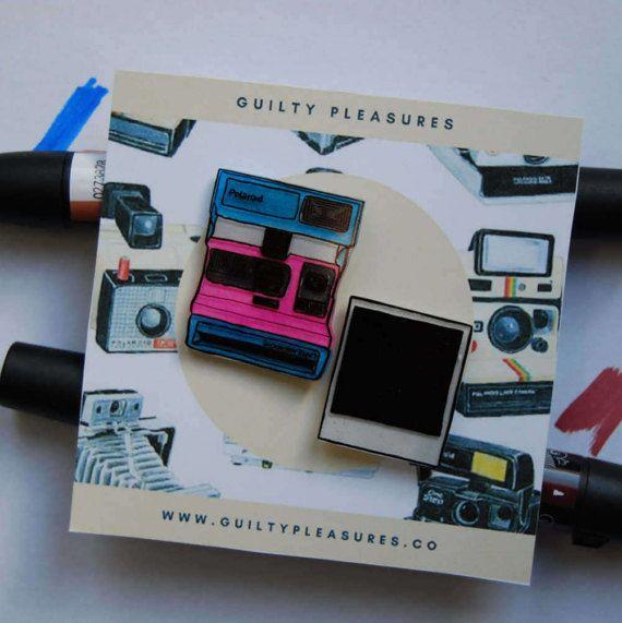 Polaroid Pin. Polaroid Camera and Polaroid Photo Pin.