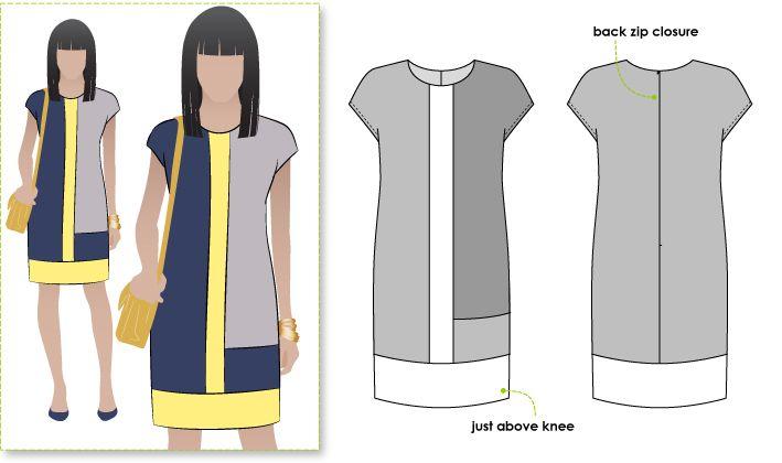 Trendy colourblocked woven shift dress with short sleeve