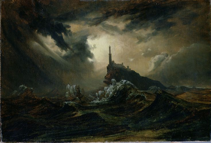 Stürmische See mit Leuchtturm / Stormy sea with Lighthouse (ca. 1826) by Carl Eduard Ferdinand Blechen (b. 29 July 1798; Cottbus, Germany – d. 23 July 1840; Berlin, Germany) Oil on canvas, h: 72 × w: 119 cm (28.3 × 46.9 in.) Kunsthalle Hamburg, Germany http://www.bildindex.de/obj20450333.html#|home  http://upload.wikimedia.org/wikipedia/commons/7/7d/Carl_Blechen_-_St%C3%BCrmische_See_mit_Leuchtturm.jpg