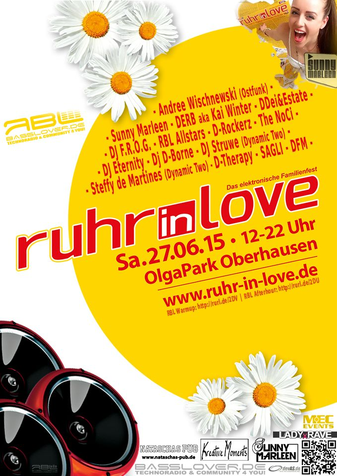 "Basslover Floor Ruhr in Love 2015   Musikstyle: EDM, Handsup, Techno Motto: ""Infected Love""  LINEUP: Sunny Marleen, Derb aka Kai Winter, Andree Wischnewski, DDei&Estate, DJ F.R.O.G., RBL Allstars, D-Rockerz, The NoCi, DJ Eternity, Dynamic Two aka Steffy de Martines & DJ Struwe, DJ D-Borne, D-Therapy, Sagli, DFM, T-Shock"