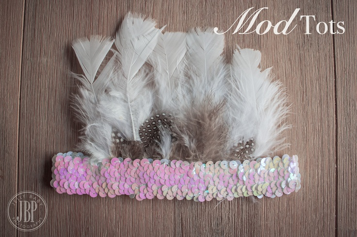 Sequin & Feather Indian HeadpIece Ideal for Newborn Photoshoots :) All Sizes Made to Order