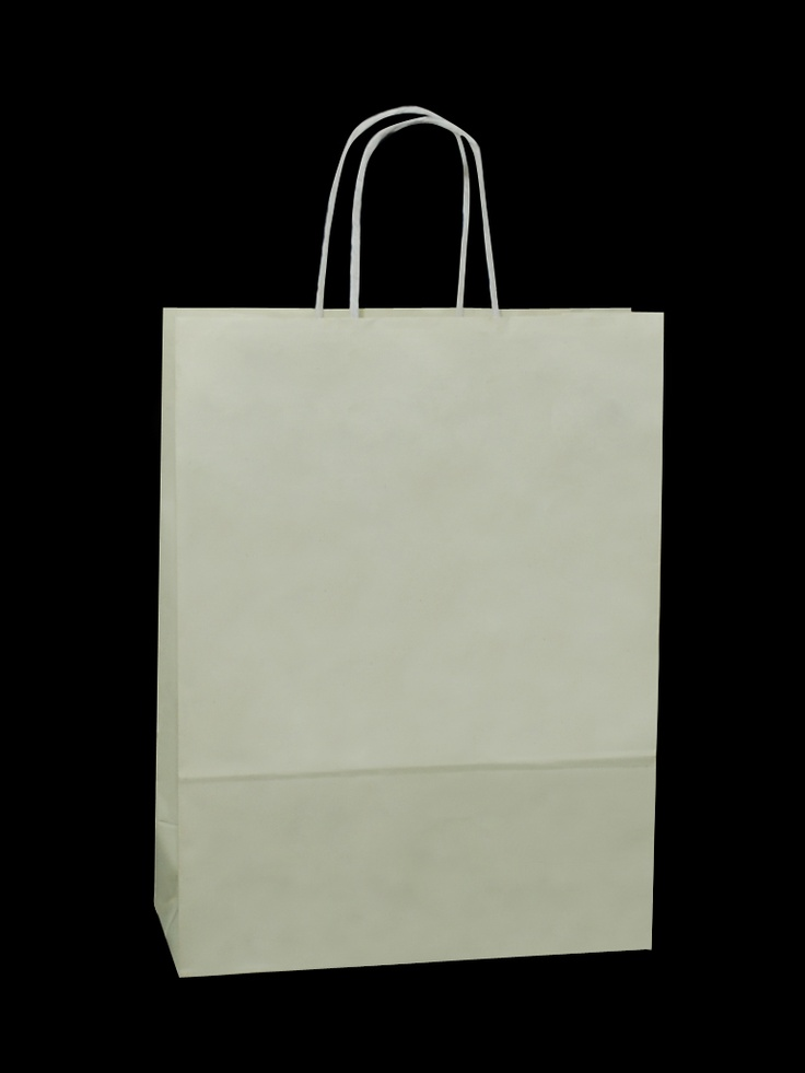 White Carrier Bag Twisted Handle - Solid Ivory