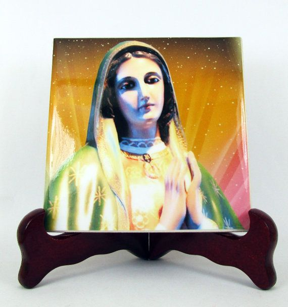 Our Lady of Guadalupe statue catholic gift handmade ceramic tile wall art religious decor mod. 9