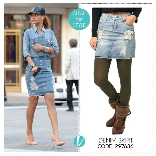 Steal Rihana's style with this Ripped Denim Skirt! Shop this by Product Code: 297636. #rihana #celebritystyle #stealherstyle #getthelook #denimskirt #rippeddenim #remanika #premium #vilara