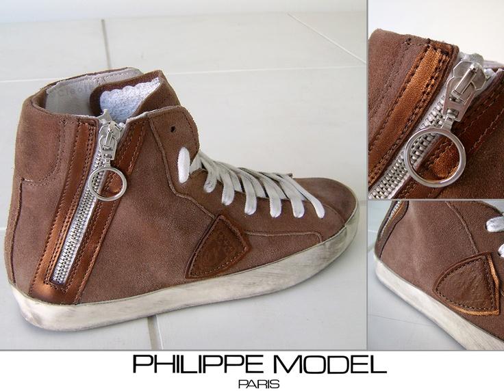 Scarpe Sneakers PHILIPPE MODEL - Modello BIKE Donna col.  Beige-Brown e Rame  COLLEZIONE . Autunno Inverno 2012  Nuovissima variante Bike Beige/Marrone chiaro e Rame!