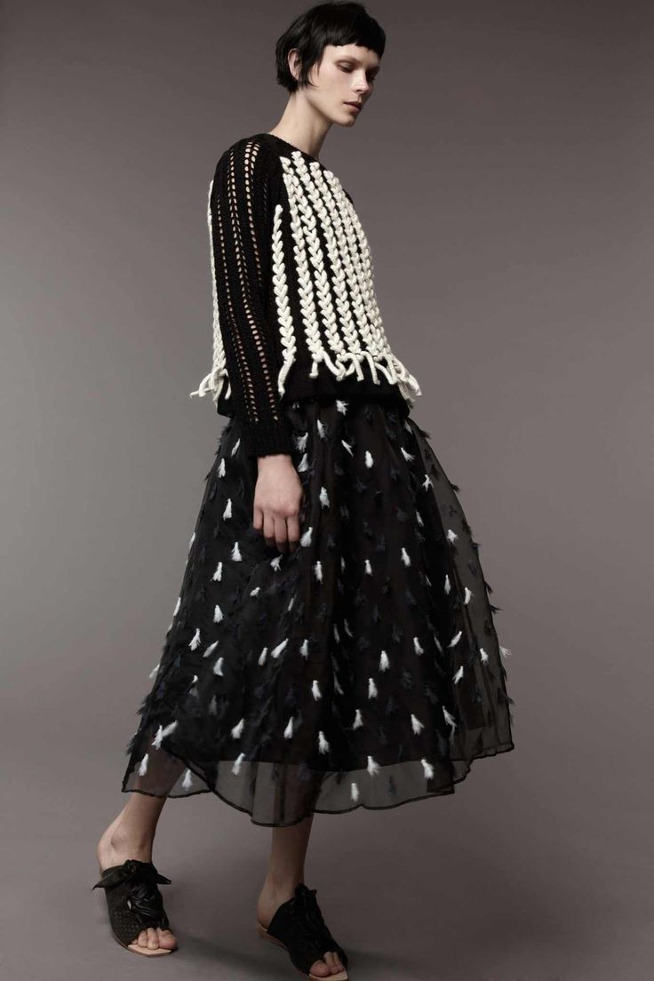 love this monochrome combo of flecked tulle skirt and a statement sweater , new minimalist en trend looks worth wearing on summer evenings or all day as smart casual style in autumn alice , pair with a cool pair of patent brogues or oxfords instead though M.Patmos, Look #14
