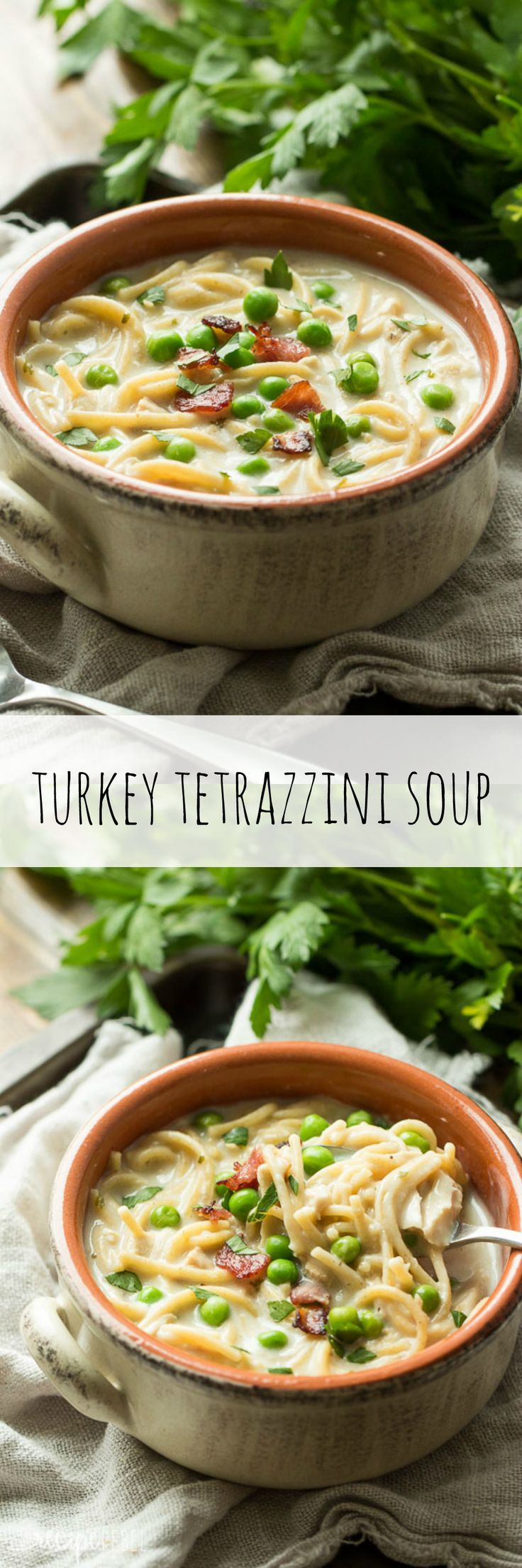 A hearty, creamy soup made with your Thanksgiving or Christmas leftovers!