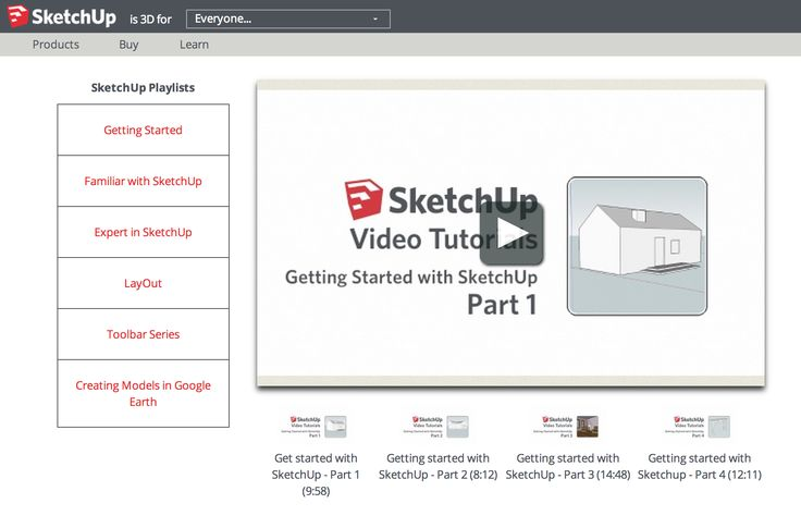 SketchUp Getting Started Video Tutorials - 4 videos  http://www.sketchup.com/learn/videos?playlist=58  https://www.youtube.com/results?search_query=Getting+Started+with+SketchUp  https://www.youtube.com/watch?v=dL01iW9DAEU