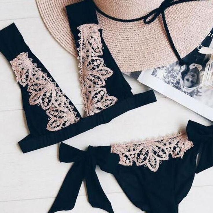 Sexy Deep V-Neck Lace Up Strappy Bikini Set Swimsuit Swimwear