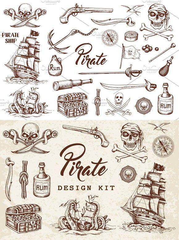 Old School Pirate Tattoos : school, pirate, tattoos, Vintage, Pirate, Design, Tattoo, Sleeve,, Tattoo,