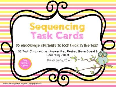 Sequence+of+Events+Task+Cards:+32+Task+Cards+++Poster,+Game+Boards+&+More!+from+The+4th+Grade+Journey+on+TeachersNotebook.com+-++(16+pages)++-+Sequence+of+Events+Task+Cards+to+encourage+looking+back+in+the+text!