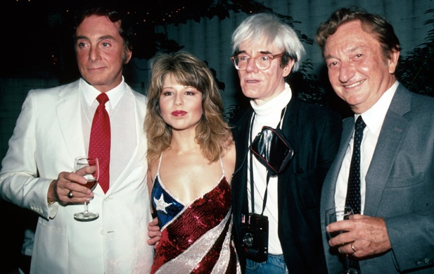 Had Pia Zadora been a star in the 1960s, she surely would have been one of Warhol's Superstars.  Here is Warhol with fellow magazine publisher Bob Guccione, Pia Zadora, and her husband.
