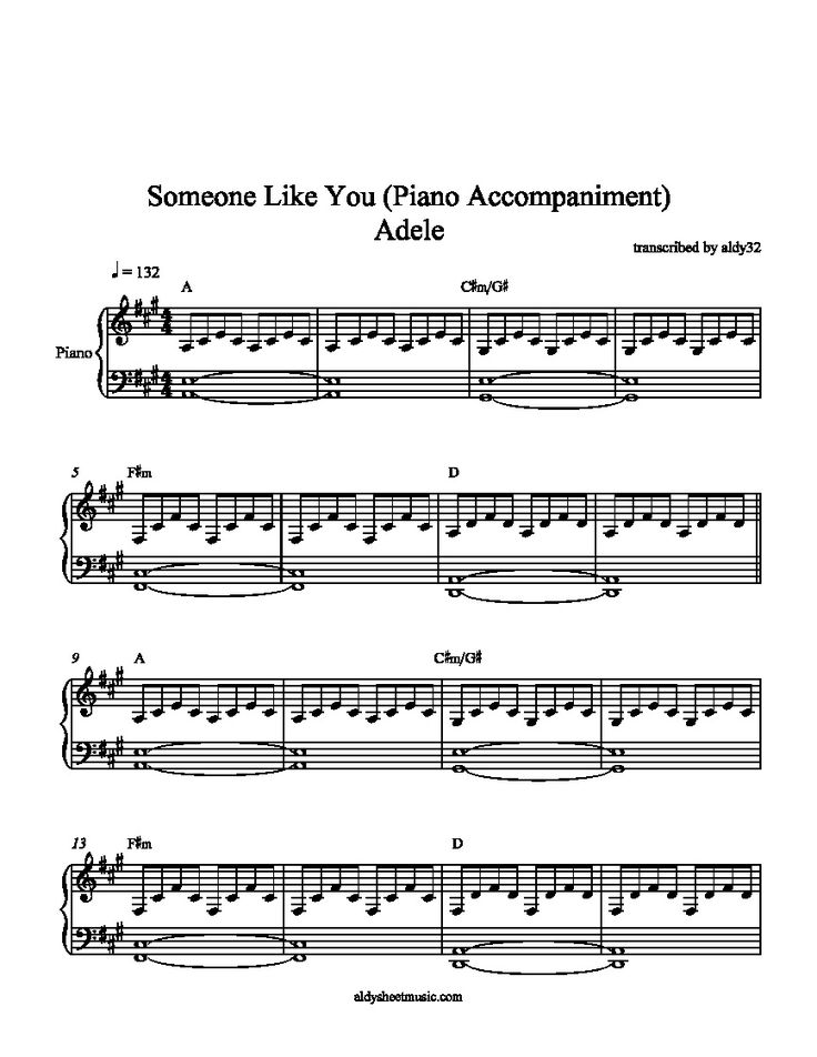 piano sheet music someone like you - Google Search