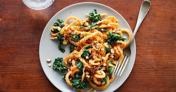 Sweet Potato Noodles with Almond Sauce via @PureWow