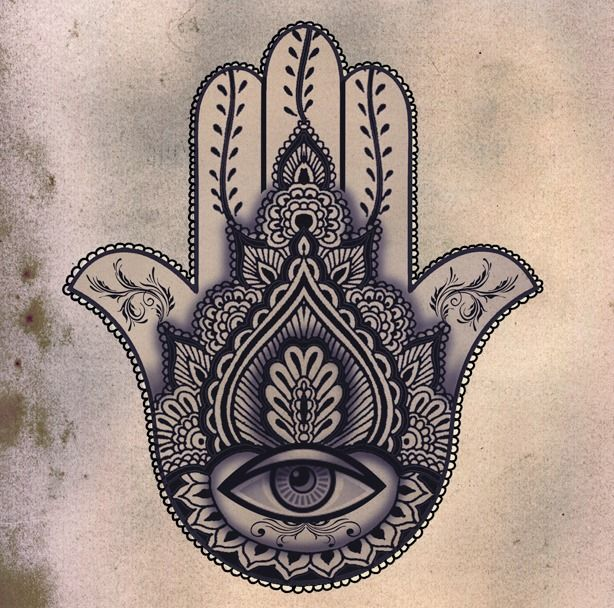 Hamsa - is an amulet that helps banish evil or negative energy. It brings happiness, luck and fortune to its owners... -Hand of Fatima tattoo #tattoo
