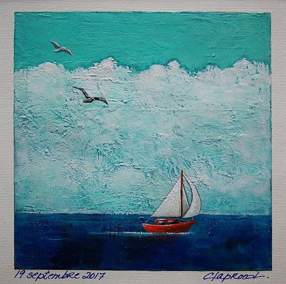 Seascape painting boat painting red sailboat painting blue