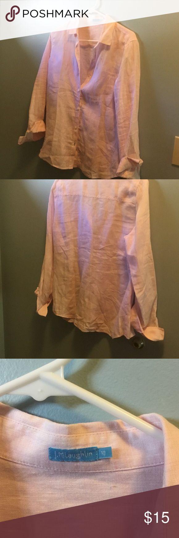 J.McLaughlin  linen  shirt. Pale pink. 10 EUC Beautiful pale pink linen shirt.  Size 10.   Smoke & pet free home. j McLaughin Tops Button Down Shirts