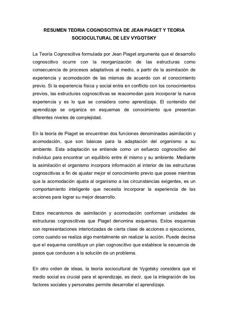 Resumen Teoria Cognoscitiva De Jean Piaget Y Teoria Sociocultural De Lev Vygotskyla Teoría Cognoscit Teoría Teorias Del Aprendizaje Jean Piaget