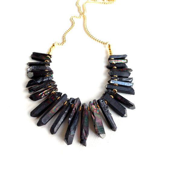 Black Quartz Statement Necklace, Titanium Quartz Raw Crystals Spike necklace on Etsy, £48.84