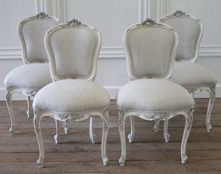 Antique French Rococo Dining Chairs in Linen from Full Bloom Cottage