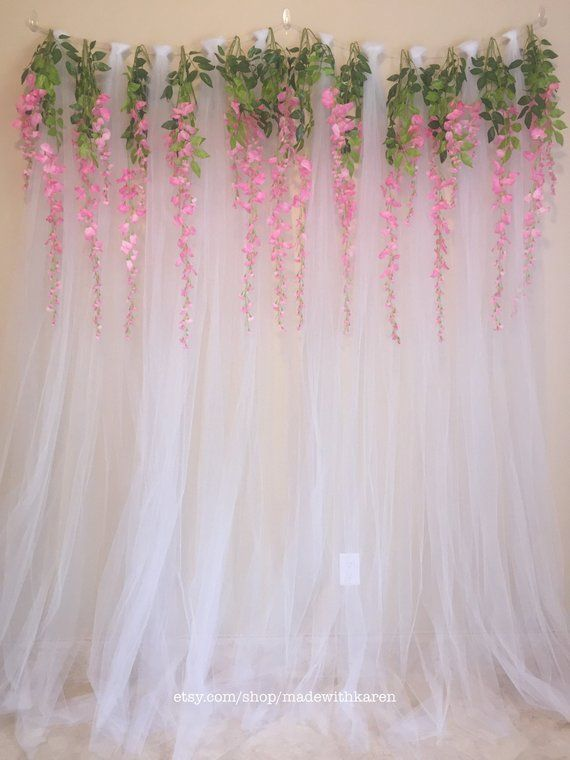 Tulle Backdrop Curtain Photo Booth With Hanging Wisteria Flowers