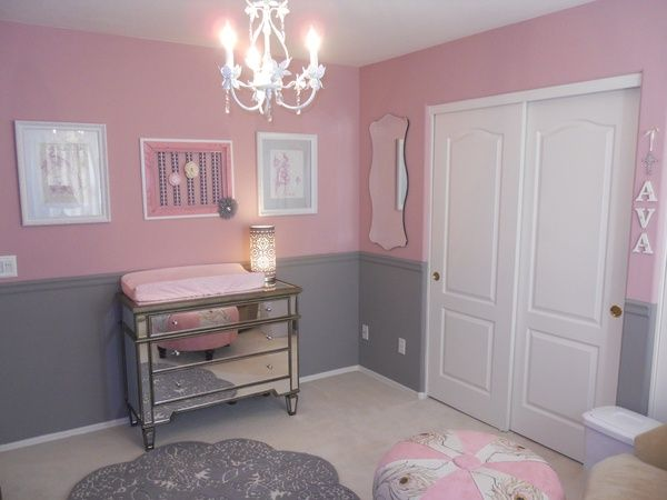 These colors together. But one wall pink and the others gray. Or two gray, two pink. Nursery for a girl(: