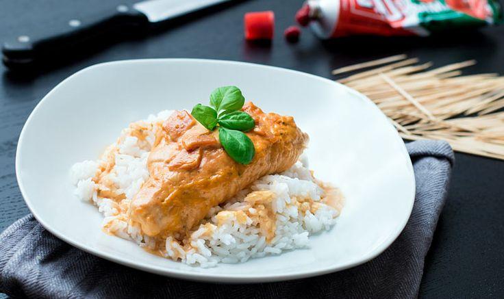 Gefuellte Putenbrust mit Sahne und Reis