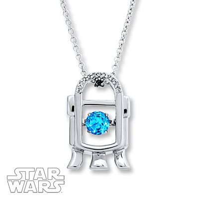 Star Wars R2-D2 Necklace Diamonds/Topaz Sterling Silver