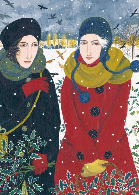 'Collecting Holly' By Painter Dee Nickerson. Blank Art Cards By Green Pebble. www.greenpebble.co.uk