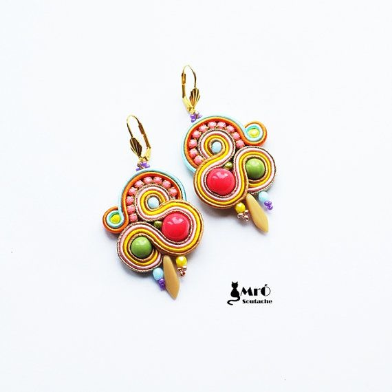 Colorful soutache earrings  by MrOsOutache on Etsy
