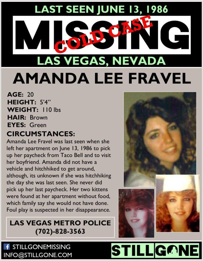 Amanda Fravel missing from Las Vegas since 1986 – Missing