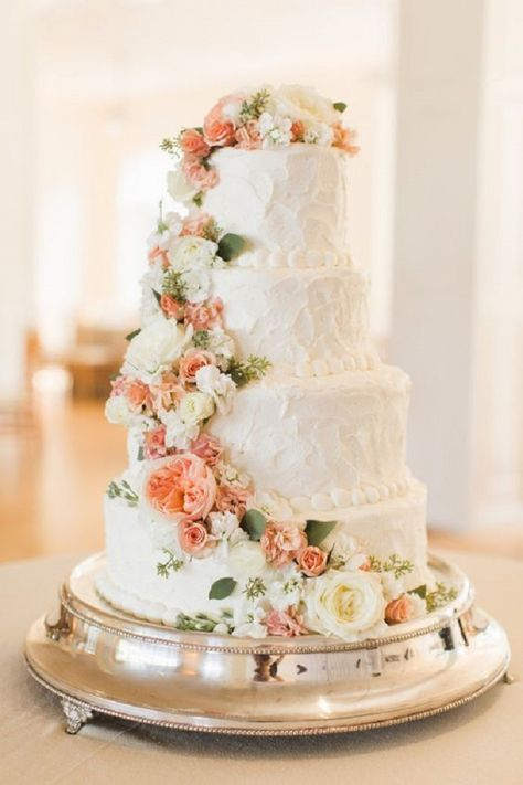 Four tier wedding cake with peach and white cascading flowers - Get inspired by these beautiful Cascading flower wedding cakes,wedding cakes with flowers
