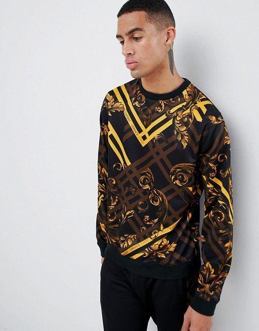 a17d08d621 Versace Jeans sweatshirt with yellow baroque print | Versace ...