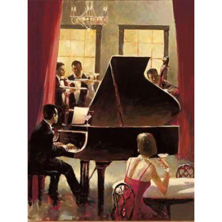 Piano Jazz Canvas Art - Brent Heighton (22 x 28)