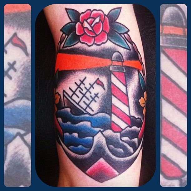 Forevertruetattoo 39 s photo lighthouse tattoo by richie for Electric lotus tattoo
