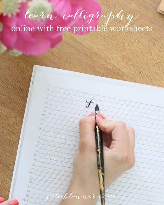 Learn calligraphy online with this free tutorial complete with step-by-step instructions and free printable practice sheets from @julieblanner