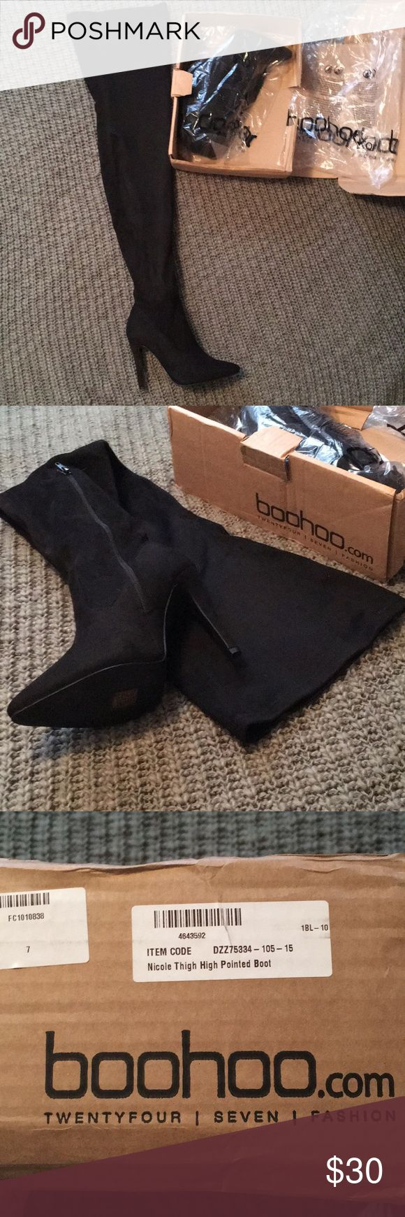 Thigh high imitation suede boots Never worn. Still in the bags/box. Super sexy!! Boohoo Shoes Heeled Boots