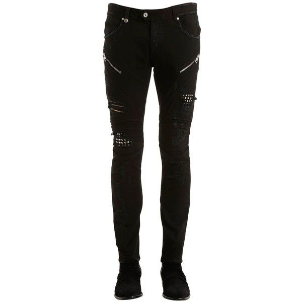 Just Cavalli Men 17cm Skinny Studded Stretch Biker Jeans ($585) ❤ liked on Polyvore featuring men's fashion, men's clothing, men's jeans, black, mens torn jeans, mens skinny jeans, mens super skinny stretch jeans, mens ripped skinny jeans and mens studded jeans