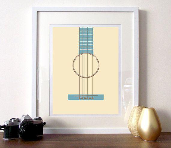 Music poster print, guitar print, minimalist music guitar poster, music art print, teal and cream print