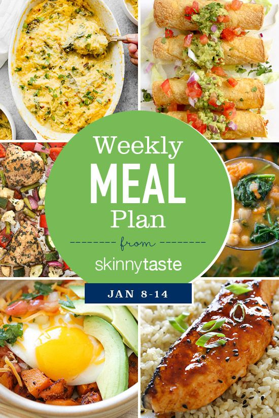 Skinnytaste Meal Plan (January 8-January 14) A full week of meals, with a shopping list, calories and weight watcher freestyle points.