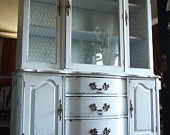 Lightly Distressed French Country Hutch in French Grey-Blue with Chicken Wire $1,195